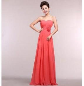Women's A line long length off shoulder heart neck lace closure back wedding party bridal  dress evening dress