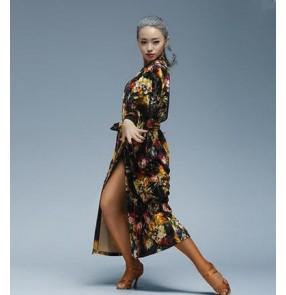 Women's adult black gold velvet flower floral long length front opening long sleeves latin dance dress overcoat  S-XXL