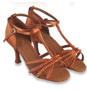 Women's adult bronze color satin silk upper handmade diamond decoration cow leather soft sole competition ballroom latin  tango dance shoes 7.5cm heeled