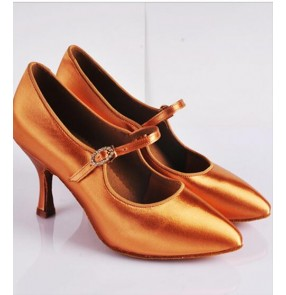 Women's adult cow leather soft sole satin silk upper bronze color high quality competition professional  latin dance shoes ballroom tango waltz chacha dance shoes high heeled 7.5cm