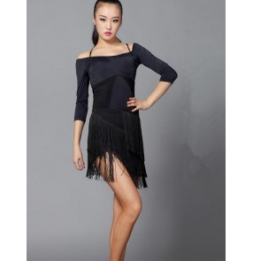 Women's adult female ladies black middle long sleeves dew shoulder sexy fringe competition salsa samba cha cha latin ballroom dance dresses set
