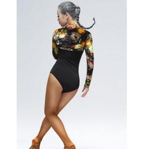 Women's adult floral black gold flower leopard latin dance velvet short length waistcoat long sleeves cape ( only waistcoat)