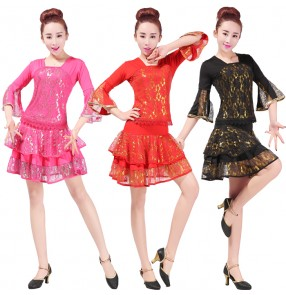 Women's adult girls gold black fuchsia red competition exercises professional latin ballrooms salsa samba cha cha dance costumes dresses sets dance wear