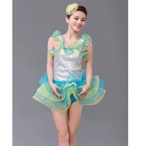 Women's adult girls leotard tutu skirt ballet dance dress with ruffle shoulder belt