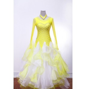 Women's adult ladies yellow white patchwork rhinestones high quality competition professional custom size long sleeves big skirted ballroom waltz tango dance dresses