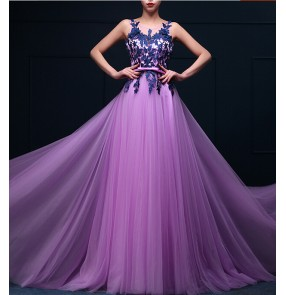 Women's applique decoration violet turquoise with belt long A-line wedding party dress evening dress