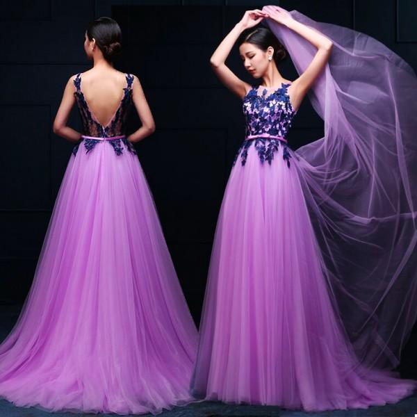 4ed7406cc84 Women s applique decoration violet turquoise with belt long A-line wedding  party dress evening dress