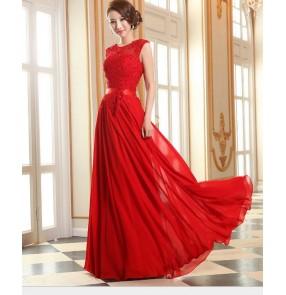 Women's applique transparent patchwork long chiffon bridesmaid dress pink violet red