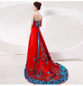 Women's appliques patchwork blue and red long length with big trail evening dress wedding party bridal dress