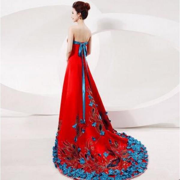 Women's appliques patchwork blue and red