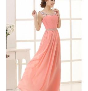 Women's beaded double shoulder long length chiffon wedding evening party bridal dresses bridesmaid dress coral