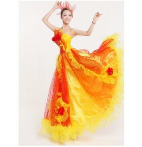 Women's big skirted flora paillette stage performance dress Spanish bull dance dress folk dance  dress yellow