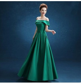 Women's boat neck dark green dew shoulder long length A-line evening party dress wedding bridal dresses