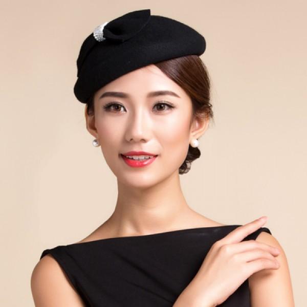 81944d5c27a7f Women s bowknot vintage 100% Australian wool fedoras pillbox hat top dress  hat black grey