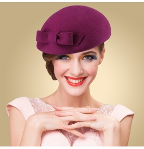 11d1f923287 Women s bowknot wedding party pillbox hat top hat one size 100% wool  fuchsia black
