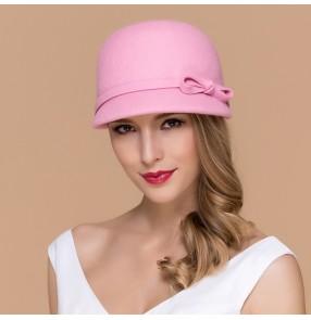 Women's bucket 100% wool handmade vintage handmade fedoras hat one size pink grey