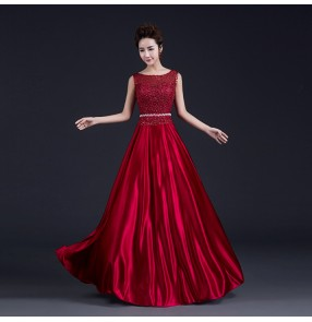 Women's chiffon and lace A-line rhinestone double shoulder decoration wedding party evening dress wine red