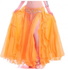 Women's chiffon double layers without waistband  multi colors belly dance costume big swing skirt