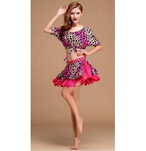 Women's colorful floral leopard batwing belly dance costumes top and skirts