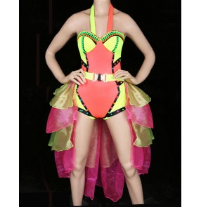 Women's colorful jazz dance  singer dj ds dance costume with tail fabric