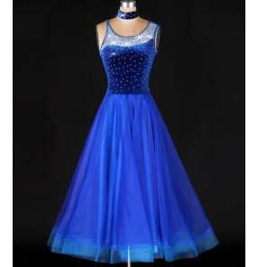Women's diamond double strap shoulder long length  ballroom dance dress royal blue waltz