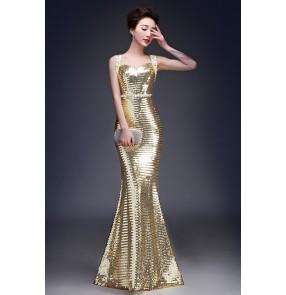 Women's double shoulder belt paillette  mermaid long evening dress gold long length party wedding dress
