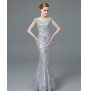 Women's double shoulder mermaid silver paillette beaded decoration evening dress party dress