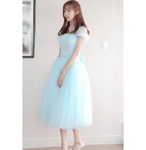 Women's double shoulder under knee length bridesmaid wedding party bridal dress