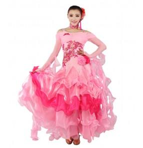 Women's embroidery pattern long senior full skirt ballroom dancing dress pink royal blue