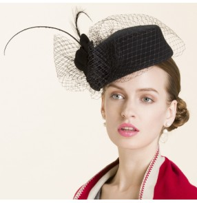 cd9f2d87f40f3 Women s facinators with veil 100% wool handmade party socialite pillbx hat