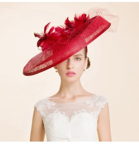 Women's fashionable socialite large brim sinamay church hats wedding party hats