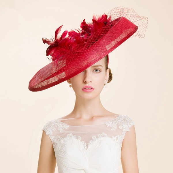Women S Fashionable Socialite Large Brim Sinamay Church Hats Wedding Party
