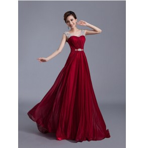 Women's female double shoulder rhinestone beaded wedding party evening dress wine red coral