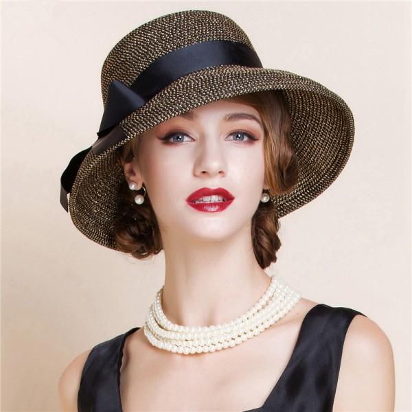 Women S Female Las Gold Silver Black Nature Straw Short Brim Wedding Party Evening Bridal Church Hats Sun Fedoras