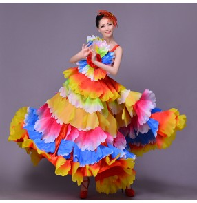 Women's  Folk dance dress flamenco colorful modern chorus dance dress