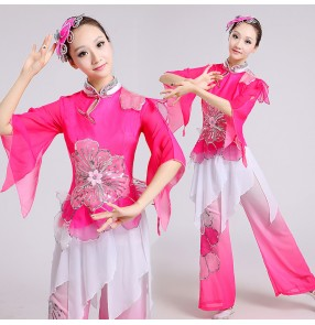 Women's fuchsia gradient color long sleeves chinese folk dance costumes ancient traditional Yangko dance costumes Dresses set