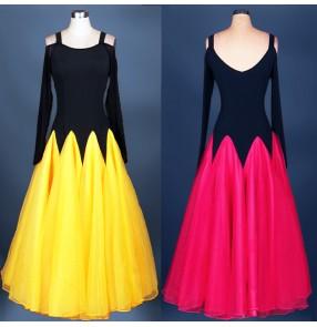 Women's fuchsia yellow royal blue Competition ballroom dresses Waltz  Dress