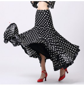 Women's full skirt polka dot black and white red and black full skirt ballroom dance skirt tango waltz skirt