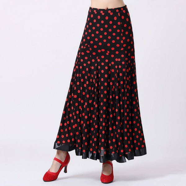 Women's full skirt polka dot black and white red and black full ...