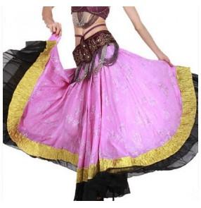 Women's full skirted floral printed flamenco dance skirt ballroom dance skirt (only skirt)
