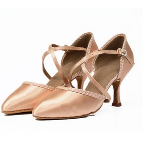 Women's girls adult professional skin color upper cow leather soft sole high heeled 7.5cm high quality competition latin dance tango waltz dance shoes