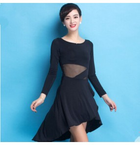 99f918fcec844 Women's girls black round neck long sleeves milk silk material competition  latin dance dress samba chacha
