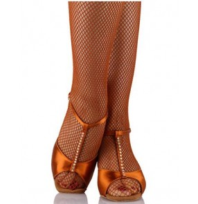 Women's girls bonded color leather soft heel diamond decoration latin ballroom tango waltz dance shoes sandals 7cm 7.5cm heel height