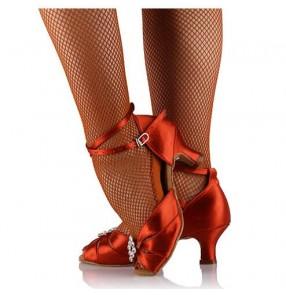 Women's girls bonded red black satin material cow leather soft sole diamond flower decoration latin ballroom tango waltz dance shoes sandals