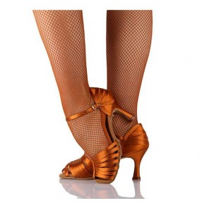 Women's girls competition professional bonded color satin silk upper material cow leather soft heel latin dance shoes ballroom dance tango dance shoes waltz dance shoes 5.5cm heel height 7.5cm heel height