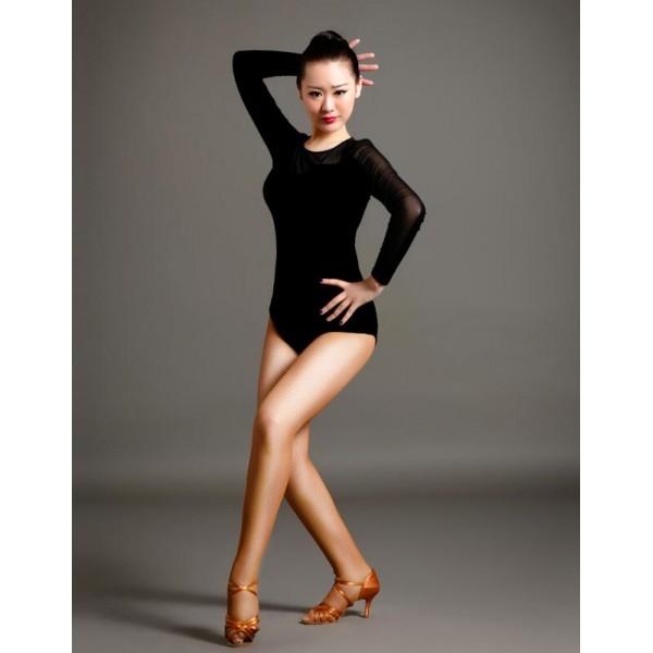 women 39 s girls competition professional red black velvet long sleeves latin ballroom dance body. Black Bedroom Furniture Sets. Home Design Ideas