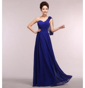 Women's girls fashionable coral turquoise royal blue pink long length A-line one shoulder bridesmaid dress wedding party dress plus size