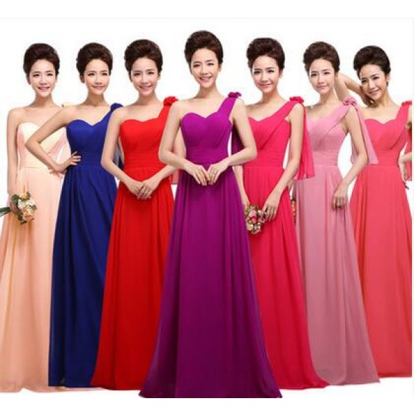 9bbb80aaea4 Women s girls fashionable coral turquoise royal blue pink long length  A-line one shoulder bridesmaid dress wedding party dress plus size