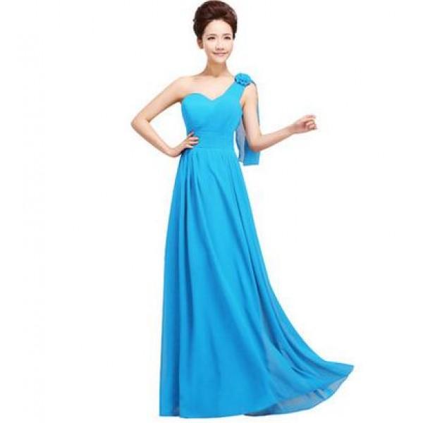 One Shoulder Turquoise Bridesmaid Dresses