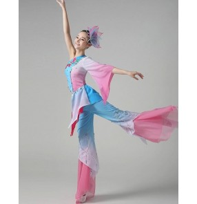 Women's girls female blue pink patchwork gradient color one sleeves Chinese folk dance dresses costumes traditional ancient fan dance costumes dresses sets for ladies